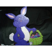 Purple Bunny with Green Basket