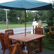 8 Ft. Picnic Table with Chairs & Umbrella