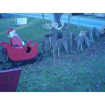 Santa in Sleigh with 5 Deer